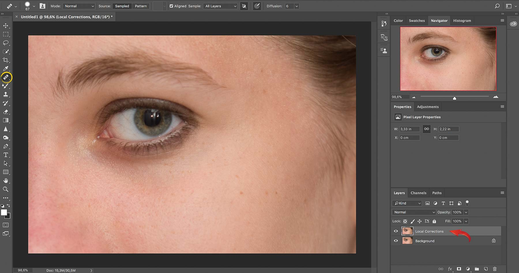 Local Corrections with the Healing Brush | Photoshop Skin Retouching • Portrait Retouching Workflow