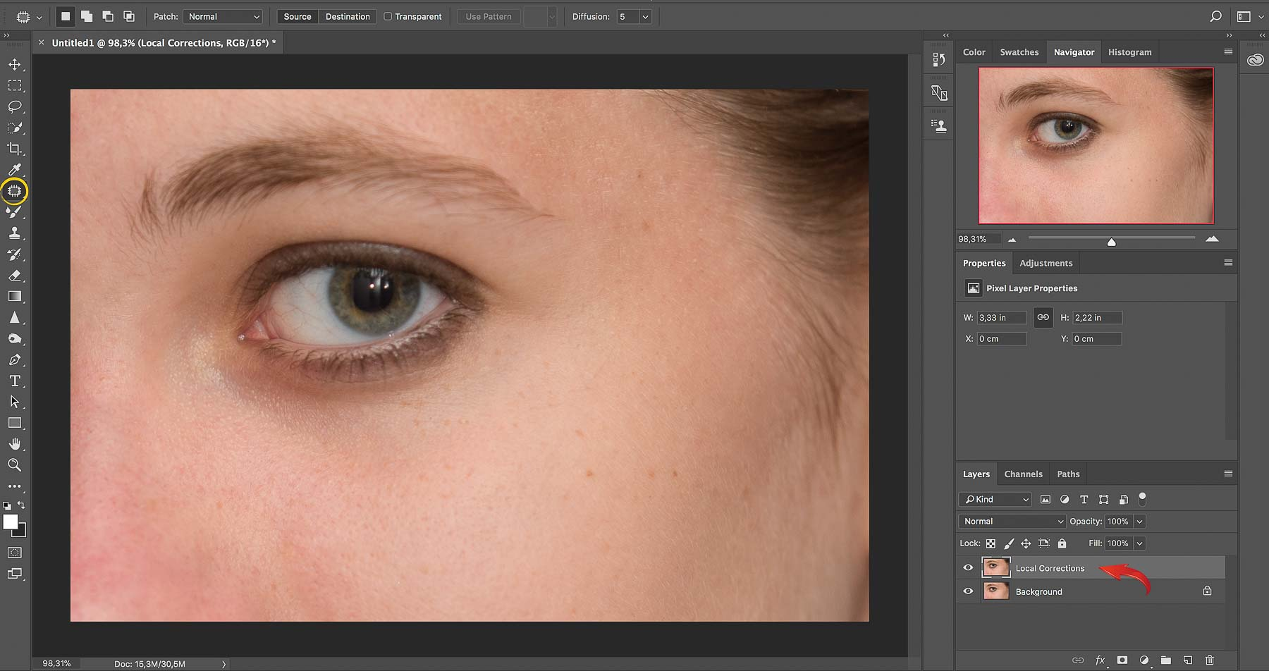 Local Corrections with the Patch tool | Photoshop Skin Retouching • Portrait Retouching Workflow